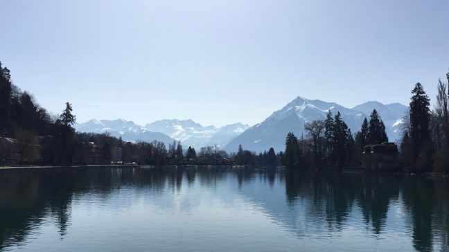 Lake Thunersee and Swiss Alps