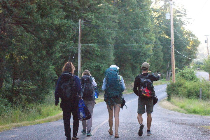 Ambassadors walking through empty lanes of Saturna