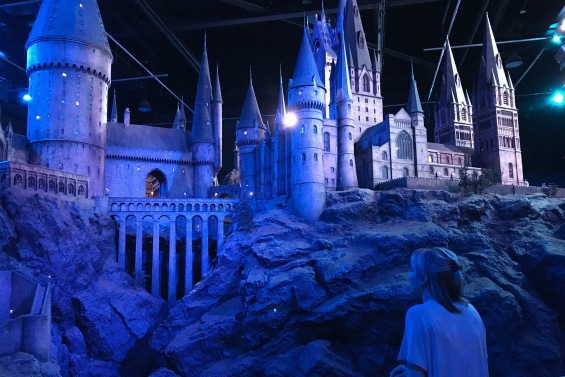 Me looking at the Hogwarts model at Warner Bros Studio in London