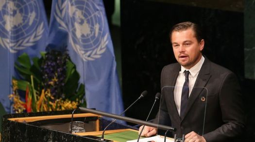 Leonardo DiCaprio giving a speech on Before The Flood
